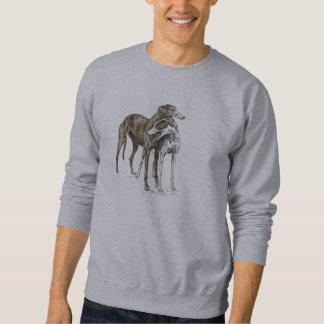 Two Greyhound Friends Dog Art Pull Over Sweatshirts