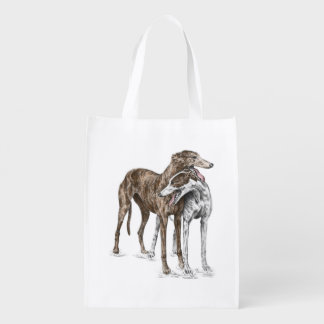 Two Greyhound Friends Dog Art Reusable Grocery Bag