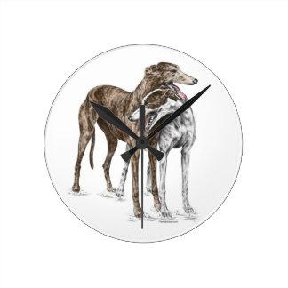Two Greyhound Friends Dog Art Round Wallclock