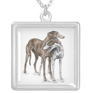 Two Greyhound Friends Dog Art Silver Plated Necklace