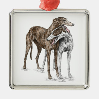 Two Greyhound Friends Dog Art Square Metal Christmas Ornament