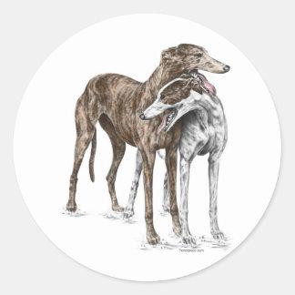Two Greyhound Friends Dog Art Classic Round Sticker