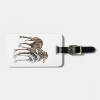 Two Greyhound Friends Dog Art Tags For Luggage