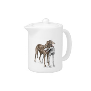 Two Greyhound Friends Dog Art Teapot at Zazzle