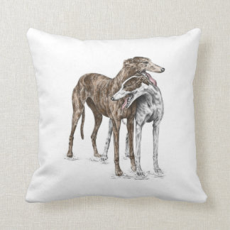 Two Greyhound Friends Dog Art Throw Pillow