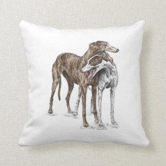 Two Greyhound Friends Dog Art Throw Pillows