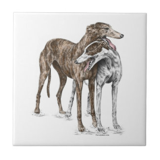 Two Greyhound Friends Dog Art Tile