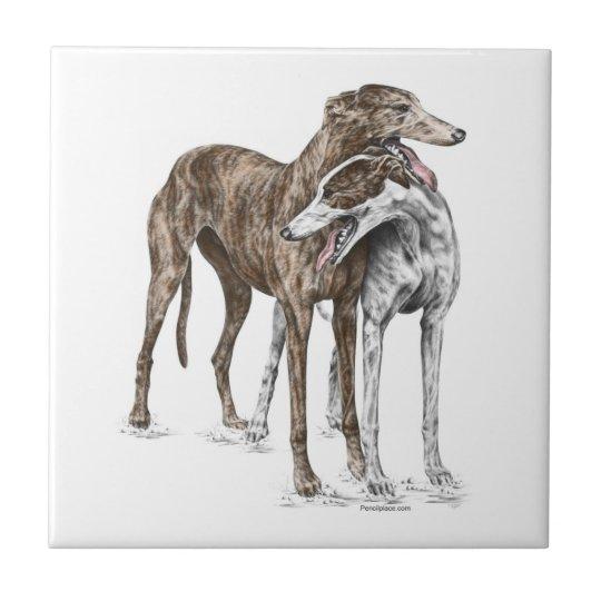Two Greyhound Friends Dog Art Tile