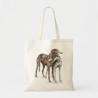 Two Greyhound Friends Dog Art Tote Bag