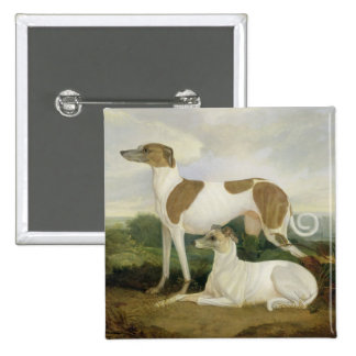 Two Greyhounds in a Landscape (oil on canvas) Button