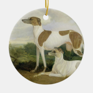 Two Greyhounds in a Landscape (oil on canvas) Ceramic Ornament