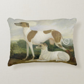 Two Greyhounds in a Landscape (oil on canvas) Decorative Pillow