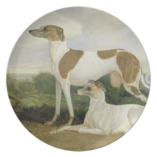 Two Greyhounds in a Landscape (oil on canvas) Melamine Plate