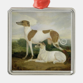 Two Greyhounds in a Landscape (oil on canvas) Metal Ornament