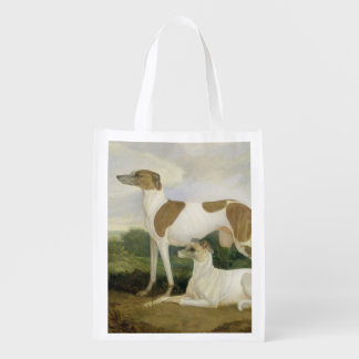 Two Greyhounds in a Landscape (oil on canvas) Reusable Grocery Bag