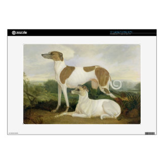 Two Greyhounds in a Landscape (oil on canvas) Skins For Laptops