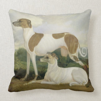 Two Greyhounds in a Landscape (oil on canvas) Throw Pillow