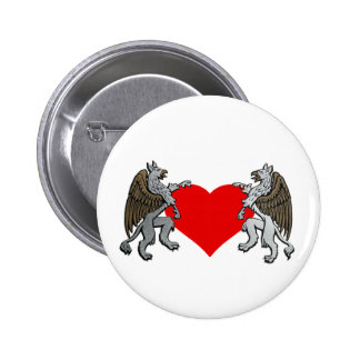 Two Griffins And A Heart Pinback Button