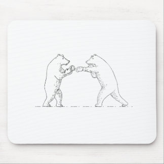Two Grizzly Bear Boxers Boxing Drawing Mouse Pad