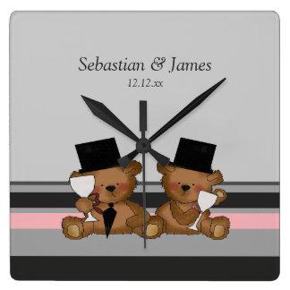 Two Groom Teddy Bears Square Wallclock