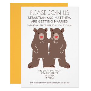Two Grooms Cartoon Bear Wedding Gay Card