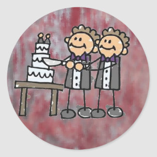 """""""Two Grooms"""" Classic Round Sticker"""