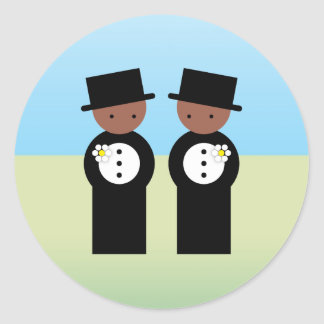 Two grooms classic round sticker