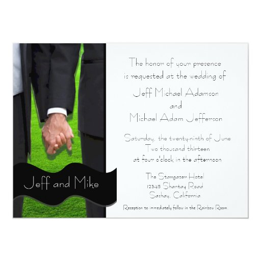 Two grooms custom gay wedding invitations zazzle for Gay wedding shower invitations