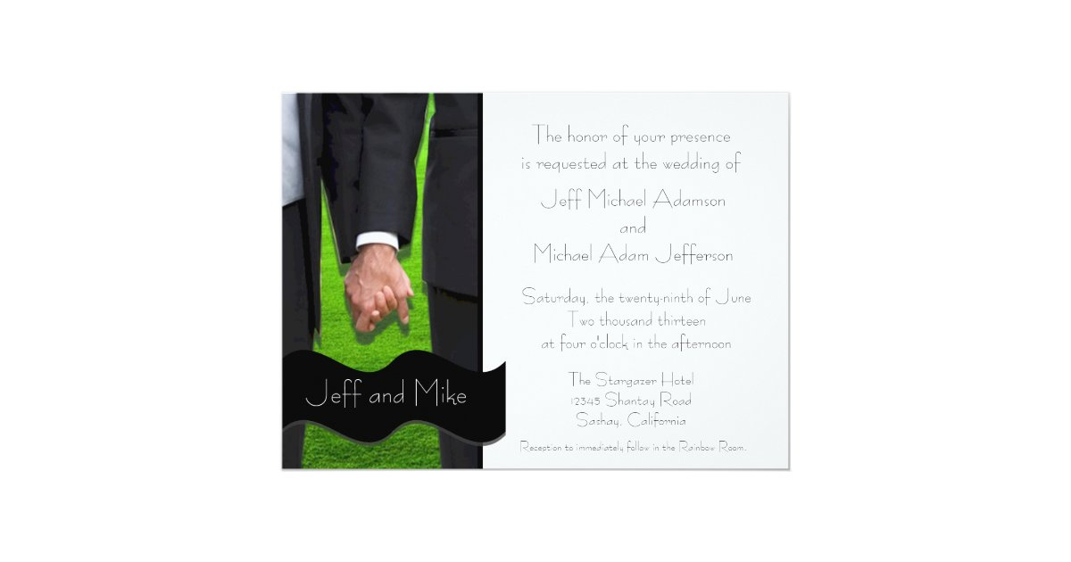 Lgbt Wedding Invitations: Two Grooms Custom Gay Wedding Invitations