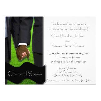 Two Grooms Custom Gay Wedding Invite Bi-Racial
