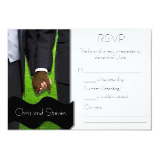Two Grooms Custom Gay Wedding RSVP (Bi-Racial) Card