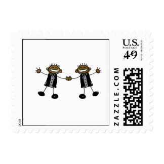 Two Grooms Dancing Happy Black Stamps
