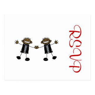 Two Grooms Dancing Happy Black Postcard