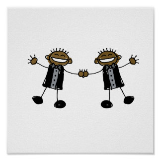 Two Grooms Dancing Happy Black Poster