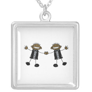 Two Grooms Dancing Happy Black Square Pendant Necklace