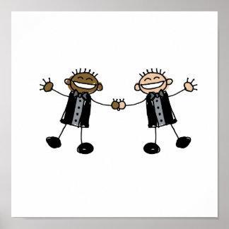 Two Grooms Dancing Happy Interracial Poster
