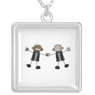 Two Grooms Dancing Happy Interracial Square Pendant Necklace