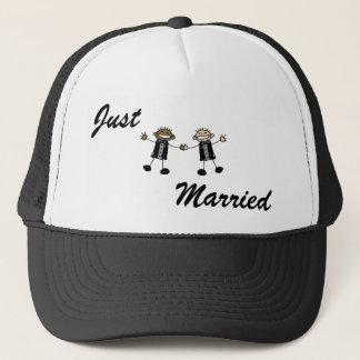 Two Grooms Dancing Happy Interracial Trucker Hat