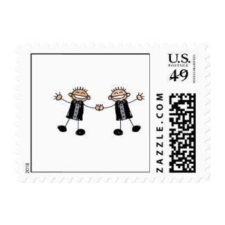 Two Grooms Dancing Happy Postage