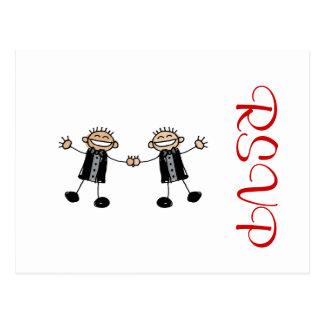 Two Grooms Dancing Happy Postcard