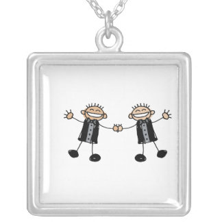 Two Grooms Dancing Happy Square Pendant Necklace