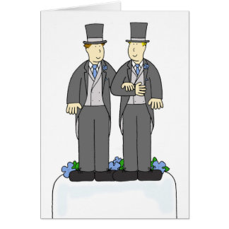 Two grooms gay marriage congratulations. card