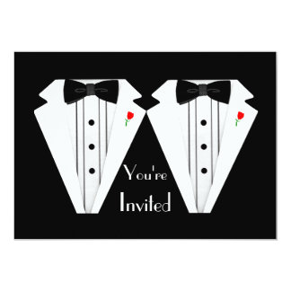 Two Grooms-Gay Wedding Tuxedo 5x7 Paper Invitation Card