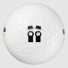Two grooms golf balls