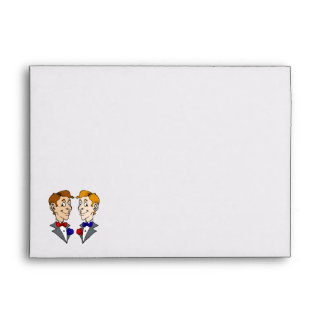 Two Grooms Heads Envelopes