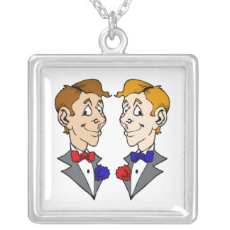 Two Grooms Heads Square Pendant Necklace