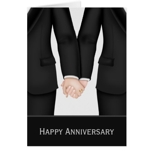 Two Grooms In Suits Wedding Anniversary Greeting Card