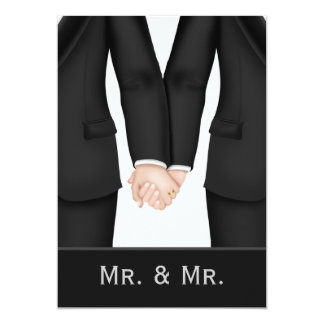 Two Grooms In Suits Wedding 5x7 Paper Invitation Card