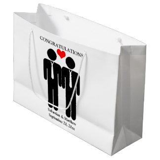 Two Grooms In Ties Wedding Customizable Large Gift Bag