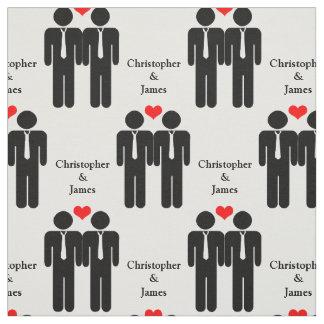 Two Grooms In Ties Wedding Customizable Pattern Fabric